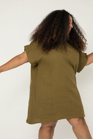 Georgia Dress in Midweight Linen Olive - Alex-OSP3