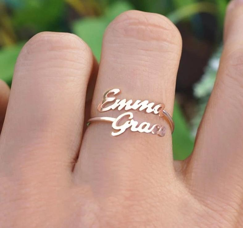 Custom Double Cursive Ring
