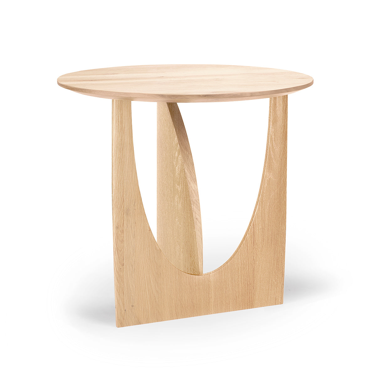 Ethnicraft Oak Geometric Side Table