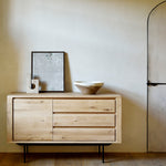 Ethnicraft Oak Shadow Sideboard- Black Metal Legs