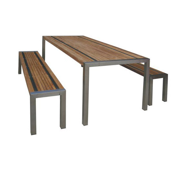 Teak Stripe III Outdoor Dining Table and Benches