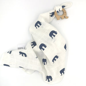 Organic Mortimer Elephant Muslin Comforter With Wooden Teether