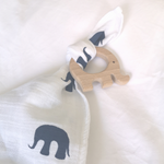 Load image into Gallery viewer, Organic Mortimer Elephant Muslin Comforter With Wooden Teether