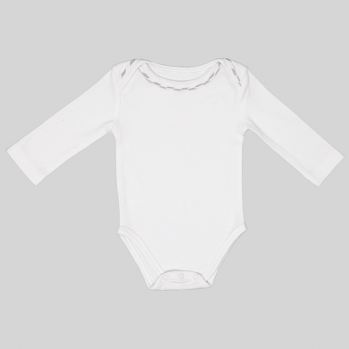 ORGANIC BODYSUIT - WHITE/GREY