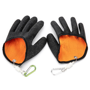 Professional Fishing Gloves With Magnetic Release Hooks Hunting  Anti Skid Capture Safety Gloves
