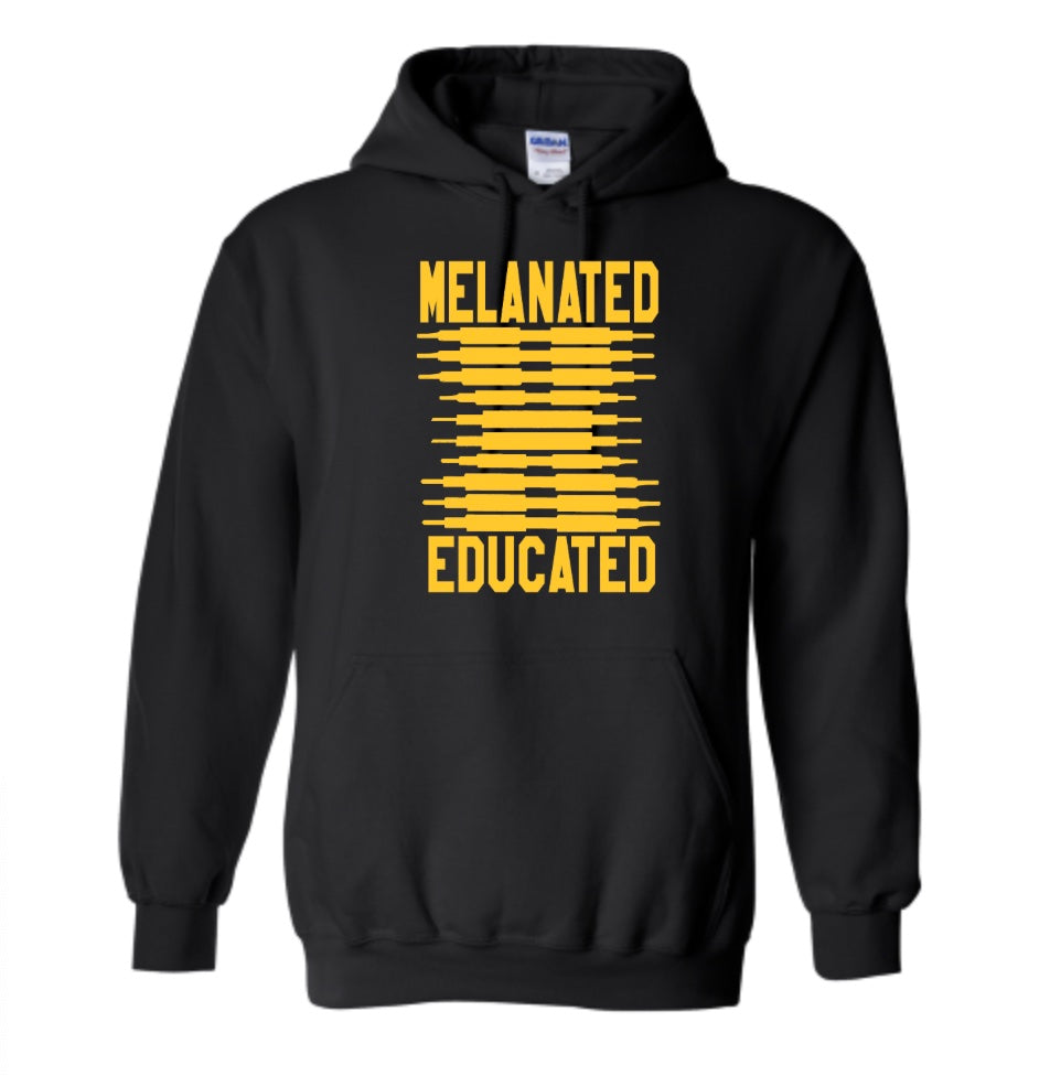 Melanated & Educated- Black & Gold Hoodie