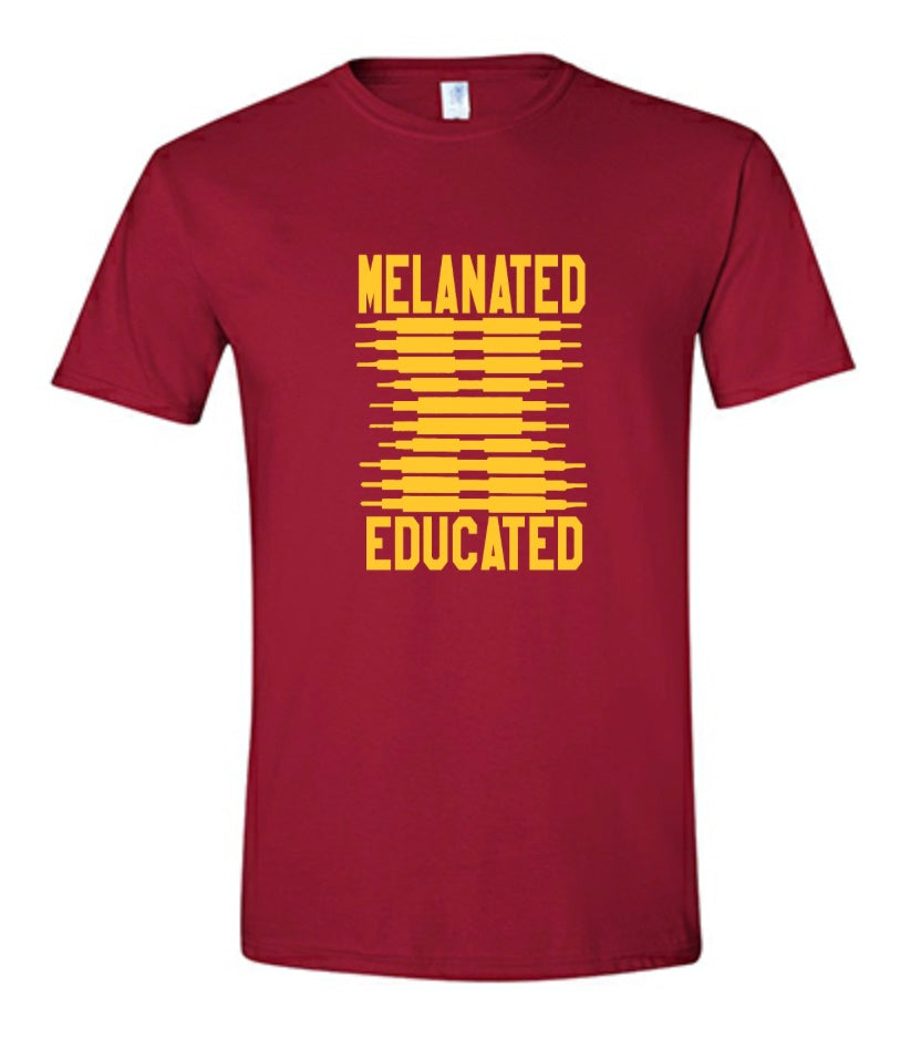 Melanated & Educated-Garnet & Gold Tee