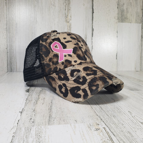 Krazy G Pink Ribbon Criss Cross Ponytail Hat
