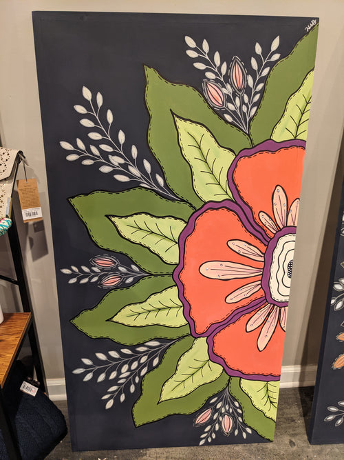 2' x 4' Floral Painting on Wood