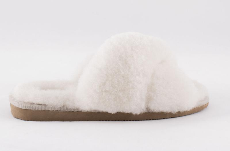 SHEPHERD OF SWEDEN CREAM CRISS-CROSS SLIPPERS