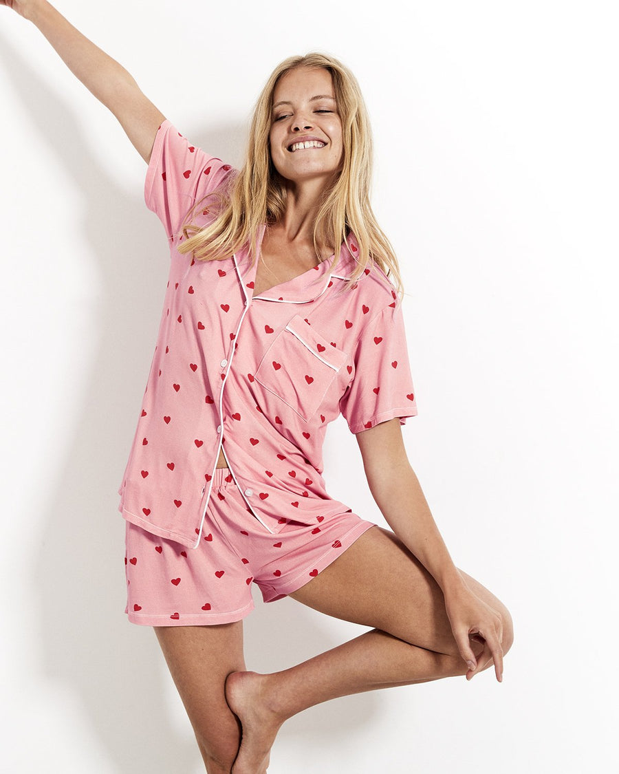 STRIPE & STARE SHORT PINK HEART PYJAMAS SET
