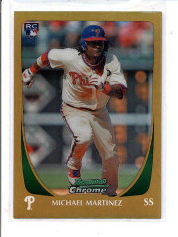 MICHAEL MARTINEZ 2011 BOWMAN CHROME #62 GOLD REFRACTOR ROOKIE RC #27/50 AC832