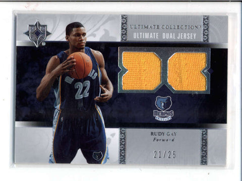 RUDY GAY 2006/07 ULTIMATE DUAL GAME USED WORN JERSEY COMBO #21/25 AC1025