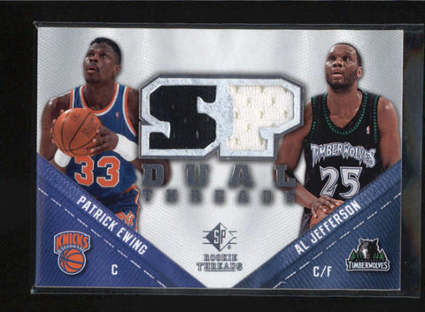 PATRICK EWING / AL JEFFERSON 2008/09 SP ROOKIE THREADS DUAL GAME JERSEY AB5109