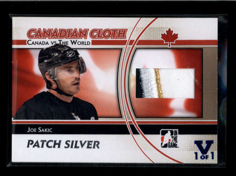 JOE SAKIC 2015/16 ITG FINAL CANADIAN CLOTH 3-CLR SILVER PATCH VAULT #1/1 AB7723