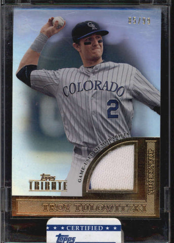 TROY TULOWITZKI TOPPS TRIBUTE SEALED GAME USED WORN JERSEY #85/99 AB5319