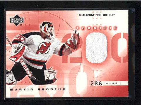 MARTIN BRODEUR 2001/02 01/02 UPPER DECK CHALLENGE FOR THE CUP JERSEY AB9091