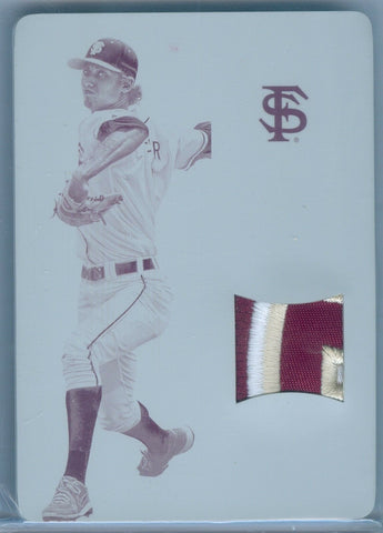 LUKE WEAVER 2015 NATIONAL TREASURES MULTI-SPORT 1/1 PLATE RC ROOKIE PATCH SP/1
