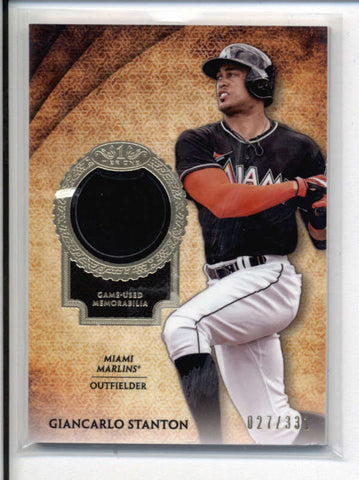 GIANCARLO STANTON 2017 TOPPS TIER ONE RELIC GAME USED JERSEY #027/331 AC528