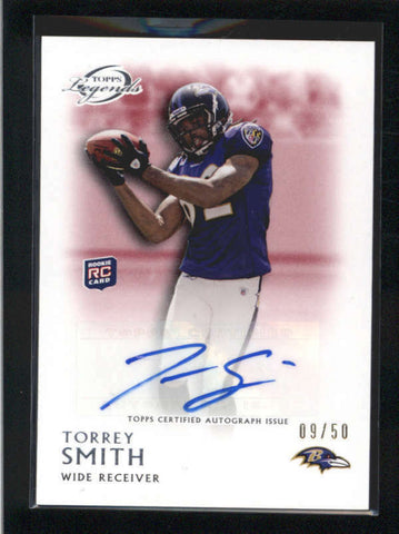 TORREY SMITH 2011 TOPPS LEGENDS RED ROOKIE AUTOGRAPH AUTO RC #09/50 AB9859