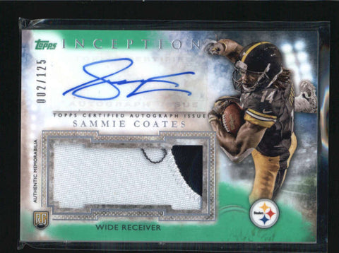 SAMMIE COATES 2015 TOPPS INCEPTION GREEN ROOKIE PATCH AUTO RC #002/125 AB6241