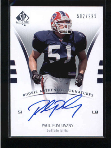 PAUL POSLUSZNY 2007 SP AUTHENTIC #234 ROOKIE AUTOGRAPH AUTO RC #502/999 AB9323