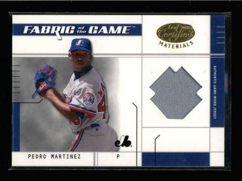 PEDRO MARTINEZ 2003 LEAF CERTIFIED FABRIC OF THE GAME JERSEY #06/50 AC895