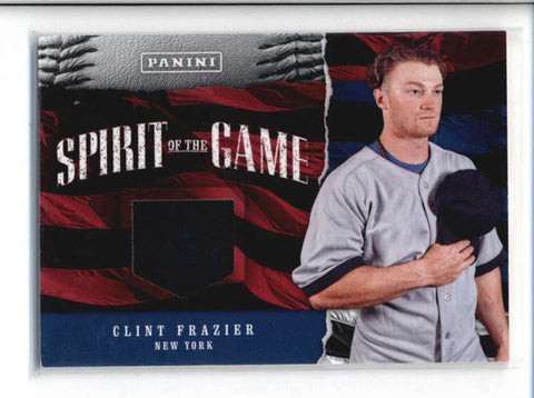 CLINT FRAZIER 2017 PANINI FATHERS DAY SPIRIT OF THE GAME USED HAT #14 AB9585