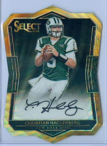 CHRISTIAN HACKENBERG 2016 SELECT ROOKIE DIE CUT PRIZM WAVE REFRACTOR AUTO SP/10