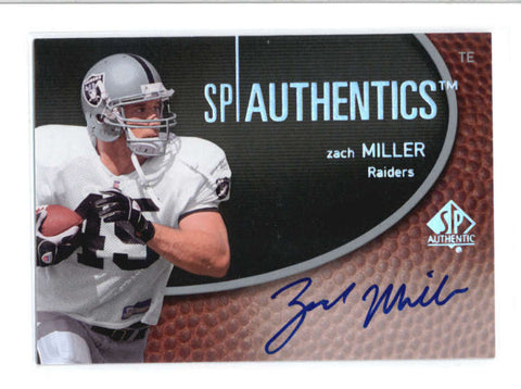 ZACH MILLER 2007 SP AUTHENTICS ON CARD AUTOGRAPH AUTO AB9248