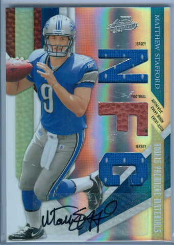 MATTHEW STAFFORD 2009 ABSOLUTE RC ROOKIE AUTO AUTOGRAPH JERSEY / FOOTBALL SP/25