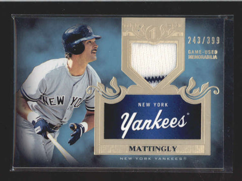 DON MATTINGLY 2011 TOPPS TIER ONE YANKEES GAME USED JERSEY #243/399 AC197