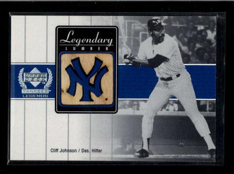 CLIFF JOHNSON 2000 UD YANKEES LEGENDS LEGENDARY LUMBER GAME USED BAT AC2229