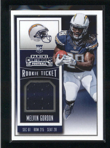 MELVIN GORDON 2015 PANINI CONTENDERS ROOKIE TICKET USED WORN JERSEY RC AB9889
