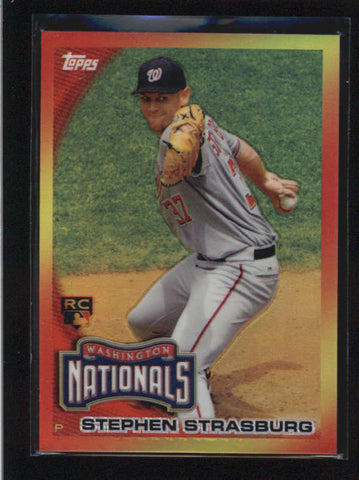 STEPHEN STRASBURG 2010 TOPPS RED HOT ROOKIE REDEMPTION REFRACTOR #RHR-8 AB8872