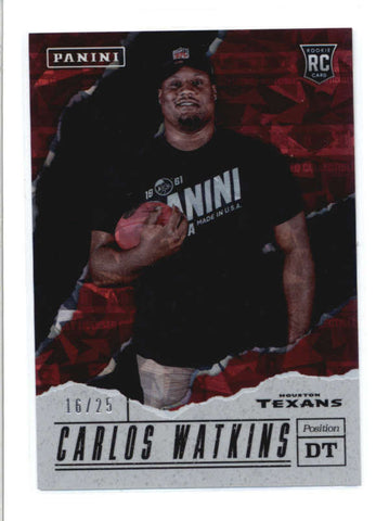 CARLOS WATKINS 2017 PANINI FATHERS DAY #64 CRACKED ICE ROOKIE RC #16/25 AB9257