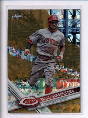 BILLY HAMILTON 2017 TOPPS CHROME #144 GOLD WAVE REFRACTOR PARALLEL #/50 AC2186