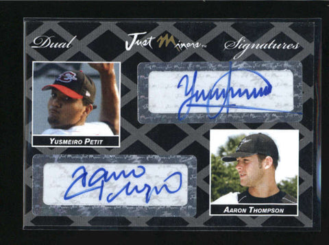 YUSMEIRO PETIT / AARON THOMPSON RARE 2005 JUST DOUBLE BLACK AUTO #1/2 AB5481