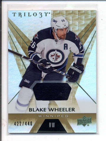 BLAKE WHEELER 2016/17 UD TRILOGY GAME USED WORN JERSEY RELIC #422/440 AC1031