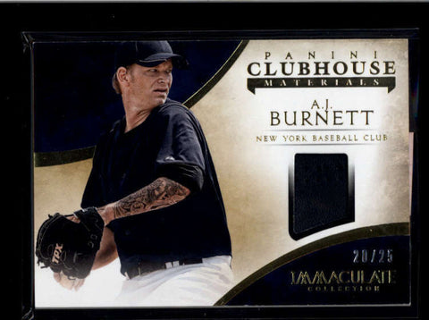 A.J. AJ BURNETT 2014 IMMACULATE CLUB HOUSE MATERIALS GAME GLOVE #20/25 AB8146
