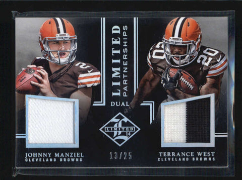MANZIEL / WEST 2014 LIMITED PARTNERSHIPS DUAL ROOKIE WORN PATCH RC #13/25 AB6293