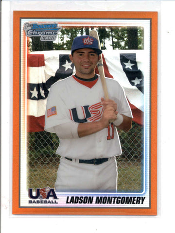 LADSON MONTGOMERY 2010 BOWMAN CHROME USA ORANGE REFRACTOR ROOKIE #21/25 AC826