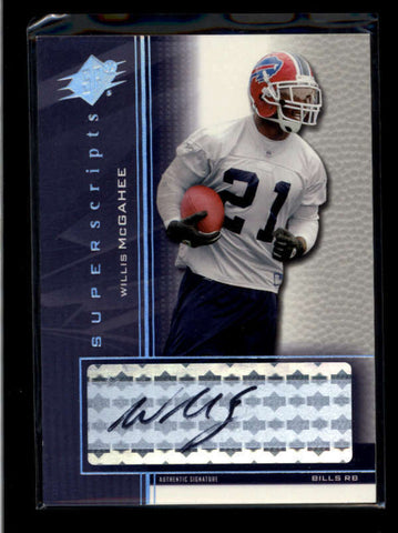 WILLIS McGAHEE 2004 SPX SUPERSCRIPTS AUTOGRAPH AUTO #SS-WM AB8340