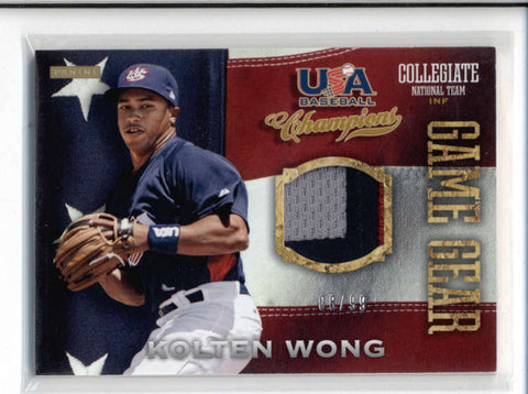 KOLTEN WONG 2013 PANINI TEAM USA CHAMPIONS GAME GEAR 3-COLOR PATCH #08/99 AC588