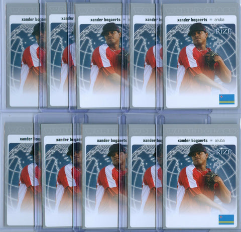 (10) XANDER BOGAERTS 2012 LEAF RIZE WORLD CLASS RC ROOKIE LOT SP