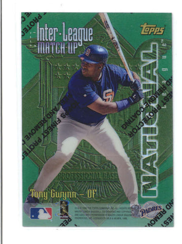 TONY GWYNN / JUAN GONZALEZ 1997 TOPPS FINEST INTER-LEAGUE REFRACTOR AB9802