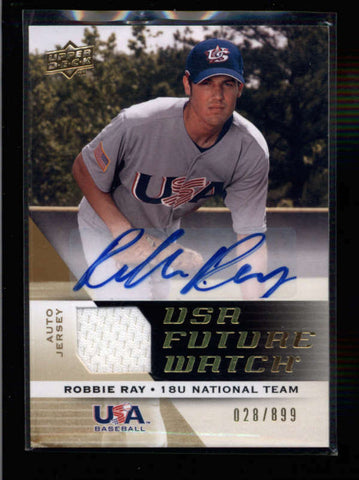 ROBBIE RAY 2009 UPPER DECK UD TEAM USA FUTURE WATCH JERSEY AUTO #020/899 AC1052