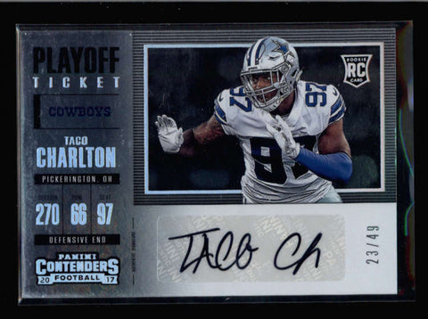 TACO CHARLTON 2017 CONTENDERS ROOKIE PLAYOFF TICKET AUTOGRAPH AUTO #23/49 AC2574