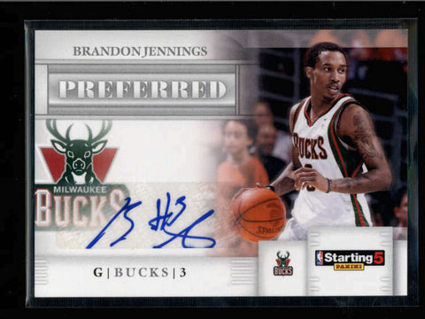 BRANDON JENNINGS 2010/11 PREFERRED STARTING 5 AUTOGRAPH AUTO AC1018