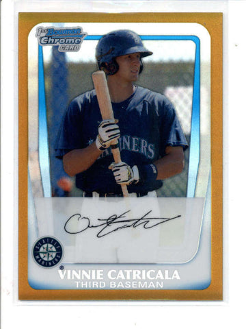 VINNIE CATRICALA 2011 BOWMAN CHROME #BCP23 GOLD REFRACTOR ROOKIE #49/50 AC829